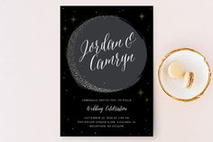"""""""Crescent Moon"""" - Whimsical & Funny, Modern Wedding Invitations in Charcoal by Erin Deegan."""