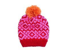 Nordic Hat  Hand Knitted Hat  Bobble Hat  by wildhoneydesign