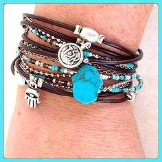 Leather Kabbalah  Wrap Bracelet with Silver and Turquoise Accents.  by DesignsbyNoa, $36.00