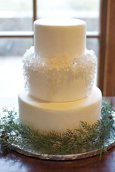 18 Fabulous Winter Wedding Cakes We Adore ❤ Take a look on these winter wedding cakes with pine cones, holly & berries under the snow and of course snowflakes and icicles. See more: http://www.weddingforward.com/winter-wedding-cakes/ #weddings #cakes
