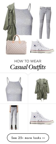 """Casual "" by xmiajohn on Polyvore featuring Glamorous, AllSaints, Converse and Louis Vuitton"
