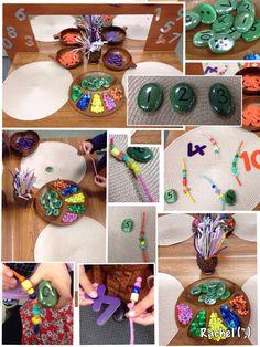 "Number recognition & counting with beads - from Rachel ("",) Kindergarten Activities, Teaching Math, Preschool Activities, Math For Kids, Fun Math, Reggio, Eyfs Classroom, Outdoor Classroom, Maths Investigations"