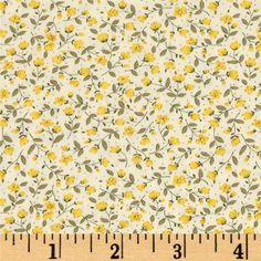 Kaufman Sevenberry Petite Fleurs Stems Yellow from @fabricdotcom  From Kaufman Fabrics, this lightweight cotton shirting fabric is very similar to a quilting cotton. This fabric is great for button down shirts and dresses. It can also be used for quilting projects. Colors include cream, yellow, and olive green.