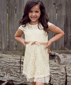 Look at this #zulilyfind! Sweet Charlotte Ivory Lace Rose Dress - Toddler & Girls by Sweet Charlotte #zulilyfinds