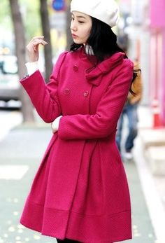Korean Style Women Long Sleeve Red Wool Long Coat One Size @YIF10821r