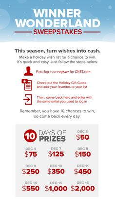 This year, our Winner Wonderland is giving you 10 chances to win cash. Make your wish list and check it twice!