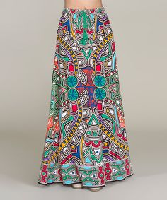 Love this Orange & Turquoise Abstract Maxi Skirt on #zulily! #zulilyfinds