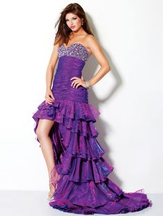Iridescent Ruffled High Low Prom Dress 3017