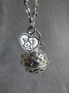 Bola de grossesse infini, bille argentée, medaille coeur ange cupidon et étoile, en sautoir
