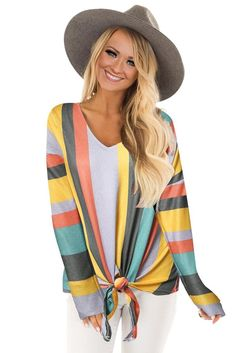 -Multi striped long sleeve top -Relaxed fit in soft stretch knit -V neckline and tie front detail at hem -Perfect casual piece to women¡¯s wardrobe -Long sleeve tops are essential for new season -online shop long sleeve tops chicly for your boutique Long Sleeve Tops, Long Sleeve Shirts, Long Sleeve Bodysuit, Nice Tops, Lady, Clothes For Women, Tie, Sleeves, Neckline
