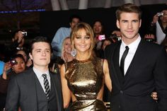 Josh Hutcherson, Jennifer Lawrence and Liam Hemsworth, huger games cast<3 cant wait to see it
