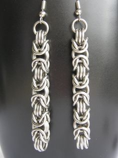 Byzantine style chain mail earrings.