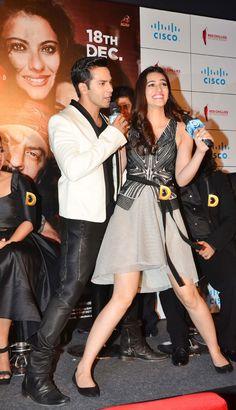 Kriti Sanon snapped in an amusing pose with Varun Dhawan at #DilwaleTrailer…