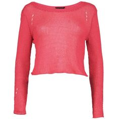 Boohoo Rebecca Loose Knit Crop Jumper ($20) ❤ liked on Polyvore featuring tops, sweaters, loose turtleneck sweater, chunky turtleneck sweater, red knit sweater, chunky knit sweater and cropped turtleneck sweater