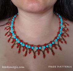 Click on link to get pattern - http://beadsmagic.com/free-pattern-for-necklace-samba/  Beads Magic - Free Beading Patterns And Everything About Handmade Jewelry: Beads Patterns, Schemas, Photos, Ideas, Inspiration.
