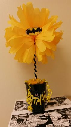 Batman baby shower centerpiece.