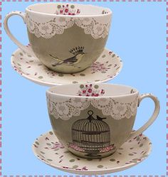 cloth-ears: with love birdcage tea cup and saucer