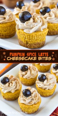 Pumpkin Spice Latte Cheesecake Bites - these mini pumpkin cheesecakes have a delicious coffee whipped cream on top. Make this easy recipe for fall parties. Cheesecake Bites, Pumpkin Cheesecake, Vegan Kitchen, Kitchen Recipes, Fall Recipes, Sweet Recipes, Drink Recipes, Yummy Treats, Yummy Food