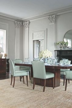 The Avalon Collection by LAUREN Ralph Lauren Home, available at ILUMEL. Dining Rooms, Dining Chairs, Dining Table, Dinner Room, Blue Rooms, Ralph Lauren, Interiors, Decorating, Nice