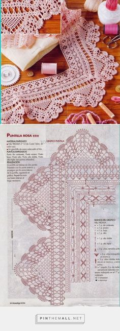 Crochet Borders Crochet lace edging with points, shells and scallops ~~ As Receitas de Crochê: Barrado com canto para toalhas - Crochet Boarders, Crochet Edging Patterns, Crochet Lace Edging, Doily Patterns, Crochet Designs, Crochet Doilies, Crochet Curtains, Crocheted Lace, Border Pattern