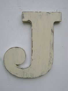 "Personalized rustic wall letters shabby chic letter J big wooden letters,initals, nursery,cabin,cottage,decor 12"" tall painted Antique white. $25.00, via Etsy."