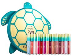 Shop tarte's Vault at Sephora. A set of all 14 shining and shimmering Lip Glosses stashed in a collector's vault shaped like a turtle. Grey Lipstick, Lipstick Art, Lip Art, Makeup Vault, Tarte Sea, Best Lip Gloss, Diy Lip Balm, Best Eyeliner, Mermaid Makeup