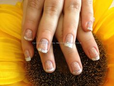 Eye Candy Nails & Training - French gel polish with glitter gel on top of natural nails by Nicola Senior on 1 May 2013 at Salon Pictures, Nail Art Pictures, One Stroke Nails, My Nails, Nail Technician Courses, Gel Nail Extensions, Crystal Nails, Glitter Gel, Beautiful Nail Art