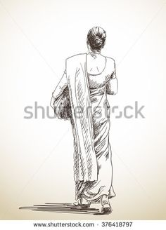 Human Figure Drawing Reference Sketch of walking woman in sari, Hand drawn illustration - Human Figure Sketches, Human Sketch, Human Figure Drawing, Figure Sketching, Figure Drawing Reference, Sketches Of People, Drawing People, Sketches Of Women, Abstract Pencil Drawings