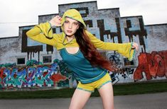 Hoodie Shrug and Shorts Outfit by Accentuates Clothing - Burning Man, Coachella, Yoga, Neon Streetwear, Urban Graffiti