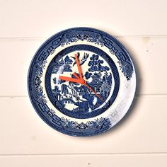 Kitchen Clock Blue and White Willow Pattern by LaviniasTeaParty
