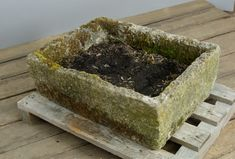 """Antique rustic carved York stone trough with beautiful moss from a farm in Yorkshire England. At 28"""" long, this trough is a nice flexible size that would work in many areas of your garden. To read about the history of antique troughs, please visit our blog . Stone Planters, Garden Planters, Garden Ornaments For Sale, Stone Farms, Iron Garden Gates, York Stone, Stone Fountains, Garden Basket, Stone Bowl"""