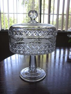 EAPG 1884 MASCOTTE Burlington Glass Work Block Diamonds Lid Compote w/Etch