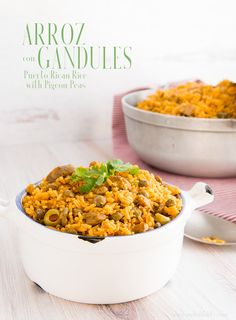 Arroz con gandules Puerto Rican Rice with Pigeon Peas is a dietary staple in the Puerto Rican cuisine. You can't have a party without a pot of it showing up. Make your celebration (or Monday night meal) more special with this recipe. #arrozcongandules #rice #pigeonpeas #PuertoRicanricewithpigeonpeas #PuertoRicanrice #Spanishrice #riceandpeas #PuertoRicanrecipes #recetasdePuertoRico #comidacriolla #authenticPuertoRicanricewithpigeonpeas #gandules #comidaBoricua #comidapuertoriqueña Rice And Pigeon Peas, Rice And Peas, Puerto Rican Cuisine, Puerto Rican Recipes, Puertorican Rice, Comida Boricua, Spanish Rice, Dog Food Recipes, Side Dishes