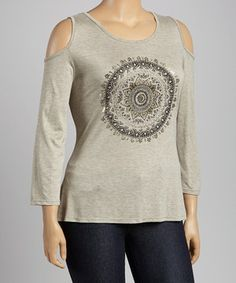 Look at this #zulilyfind! Terri B Gray & Silver Medallion Cutout Top - Plus by Terri B #zulilyfinds
