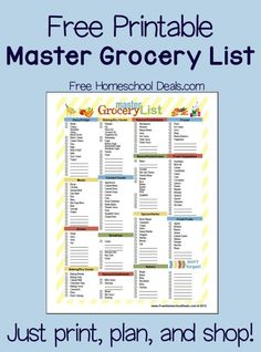 free printable master grocery list instant download