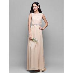 Lanting+Bride®+Floor-length+Chiffon+Bridesmaid+Dress+Sheath+/+Column+Scoop+with+Draping+–+USD+$+89.99