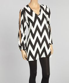 Loving this Adrienne Black & White Zigzag Cutout Tunic - Women on #zulily! #zulilyfinds