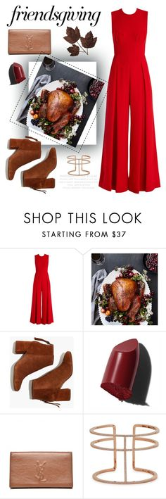"""Gather 'Round: Friendsgiving"" by chavbee ❤ liked on Polyvore featuring Emilia Wickstead, Williams-Sonoma, Madewell, Bobbi Brown Cosmetics, Yves Saint Laurent, APM Monaco and friendsgiving"