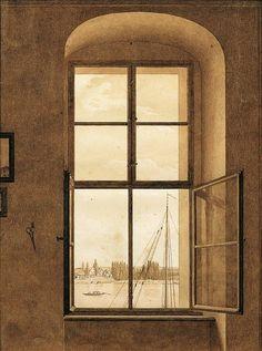 Romantic Open Window | Caspar David Friedrich, vue de l'atelier, 1805, Belvédère, Vienne
