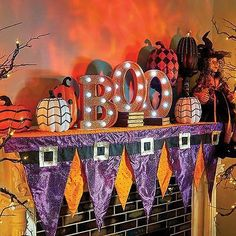 Boo Boutique Purple Orange Witch Hat Penant Mantle Scarf Halloween Decoration