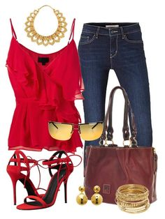 """""""Casual"""" by alice-fortuna on Polyvore featuring Levi's, Exclusive for Intermix, Dooney & Bourke, Giuseppe Zanotti, ABS by Allen Schwartz, Sterling Forever and Gucci"""
