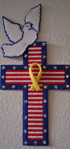 Patriotic Cross with White Dove  Yellow by NeedlecraftGallery, $45.00