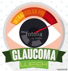 Round Button with Eye, Manometer and Ribbon Commemorating Glaucoma Week