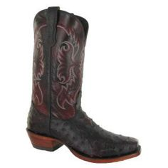 Nocona Men's Cowboy Boots Black Cherry Full Quill Ostrich Square ToeThis Nocona Mens Full Quill Cherry Black will make everyone notice you. If you are the kind of guy who likes to make a statement, then you have chosen the right boot. You will look unbelievable when you have a night out on the town or just at a nice affair. This Full Quill Ostrich Boot features a cushion Insole for all day comfort...