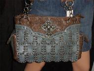 Fashion Trendy Studded Flapper Rhinestone Cross Western Satchel Handbag