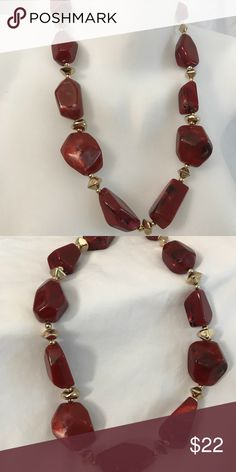 Red camille statement necklace new Lucite and acrylics beads 22 inches long with lobster clasp and extender. New Anthropologie Jewelry Necklaces