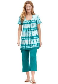 Plus Size Top And Capri Pant Set In Tie Dye Knit (Royal Jade) Woman Within,http://www.amazon.com/dp/B00CCDG6PG/ref=cm_sw_r_pi_dp_Ez.vtb173GZEH4VT