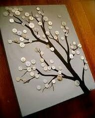 Update: - Make your own button tree using our step-by-step Button Tree Tutorial ! - Read The Button Tree Story about how we started (an. Cute Crafts, Crafts To Do, Crafts For Kids, Arts And Crafts, Diy Crafts, Art Diy, Button Crafts, Crafty Craft, Crafting