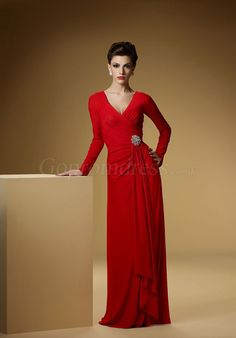 long sleeve v-neck a-line crystal brooch red Mother of the Bride Dress picture 1