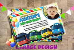 Invitación del cumpleaños de autobús poco de Tayo invitación